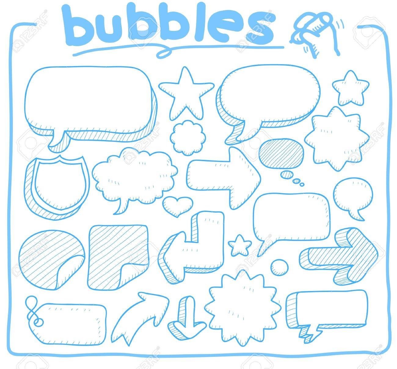 hand drawn,doodle bubble,coommunication shape collection Stock Vector - 11181155