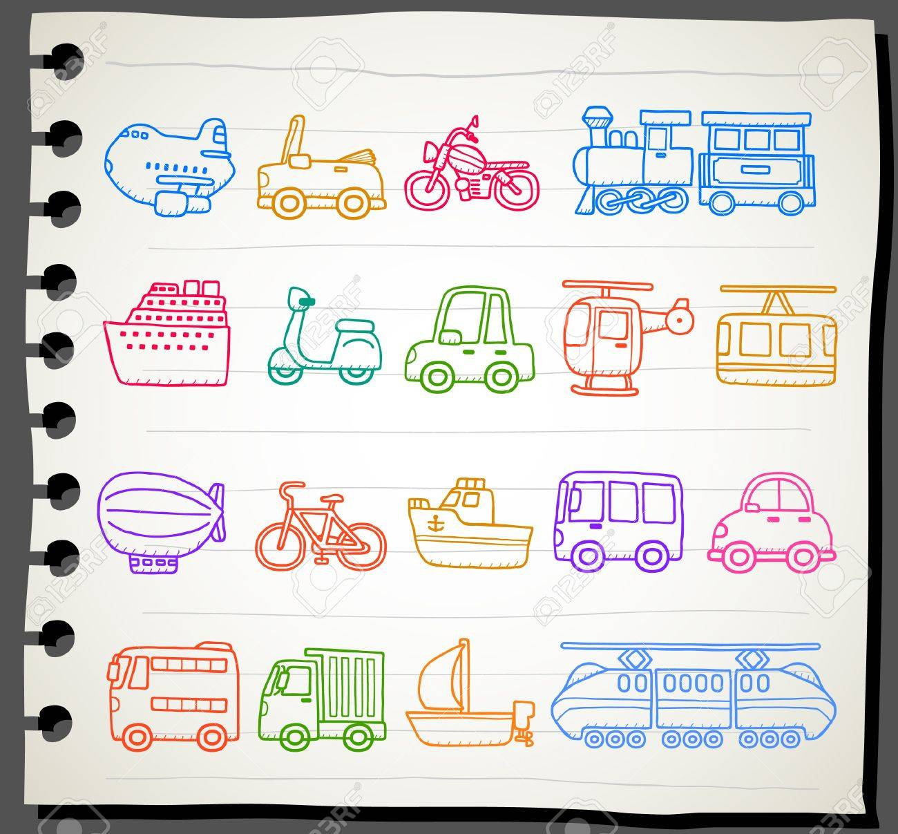 hand drawn car,transportation,vehicle icon set Stock Vector - 11495772