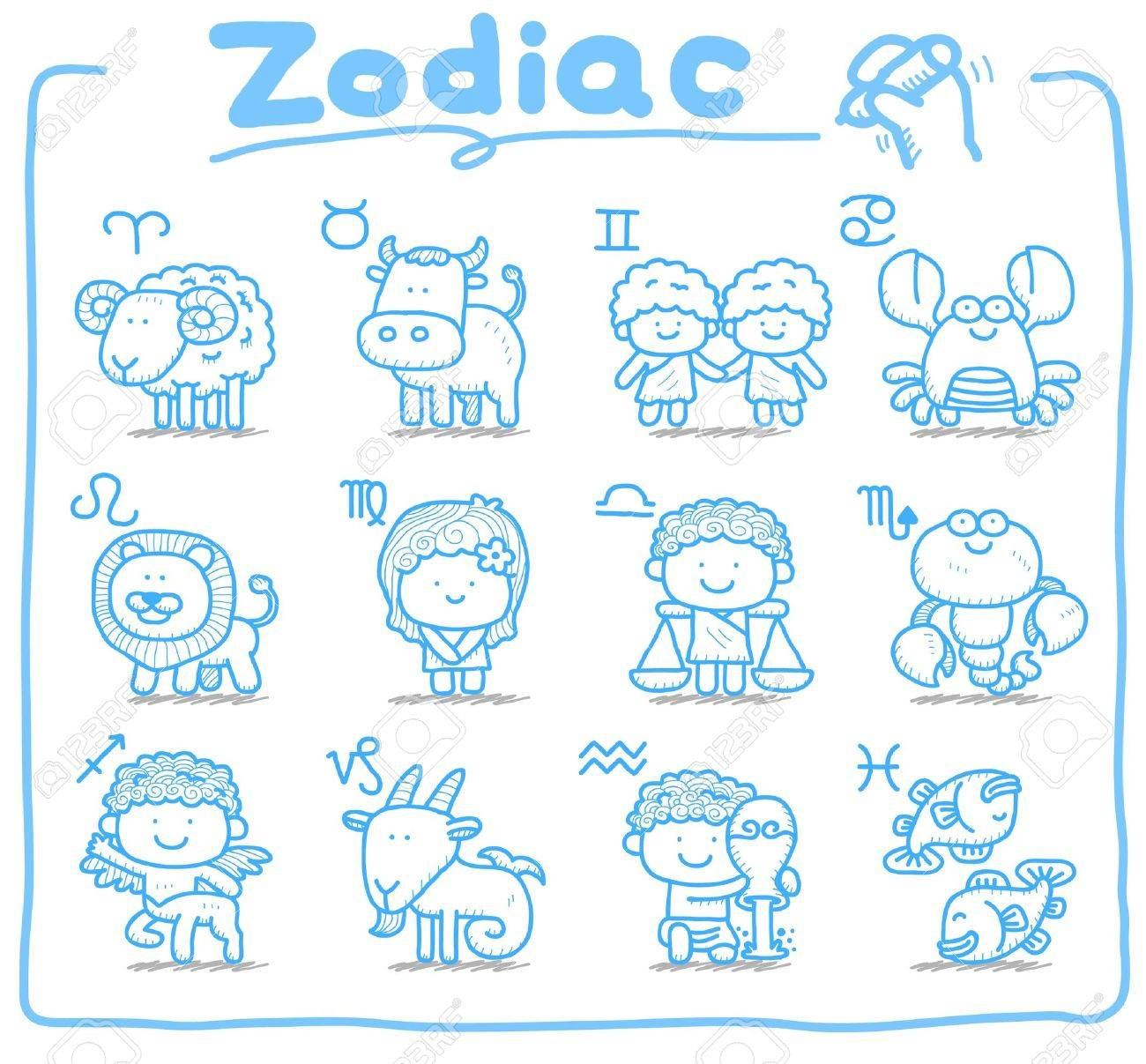 Hand Drawn Doodle Zodiac Icon Set Royalty Free Cliparts Vectors