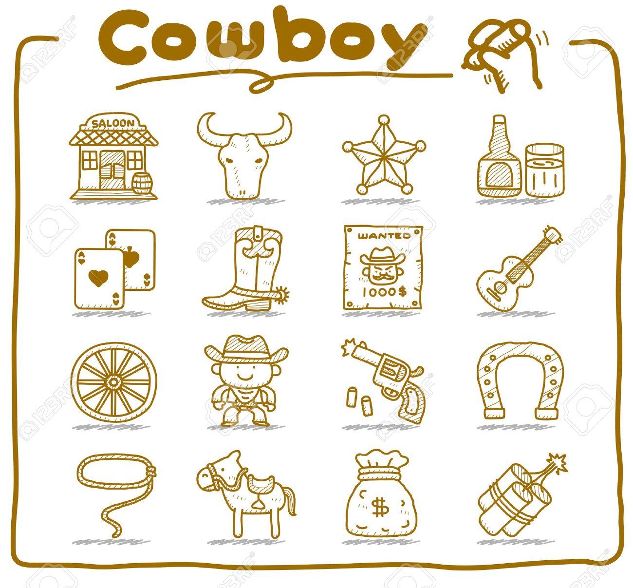 hand drawn wild west,cowboy icon set.doodle vector format. Stock Vector - 11270373