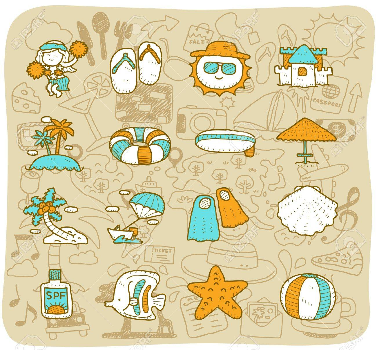 hand drawn travel,beach icon set Stock Vector - 11383287