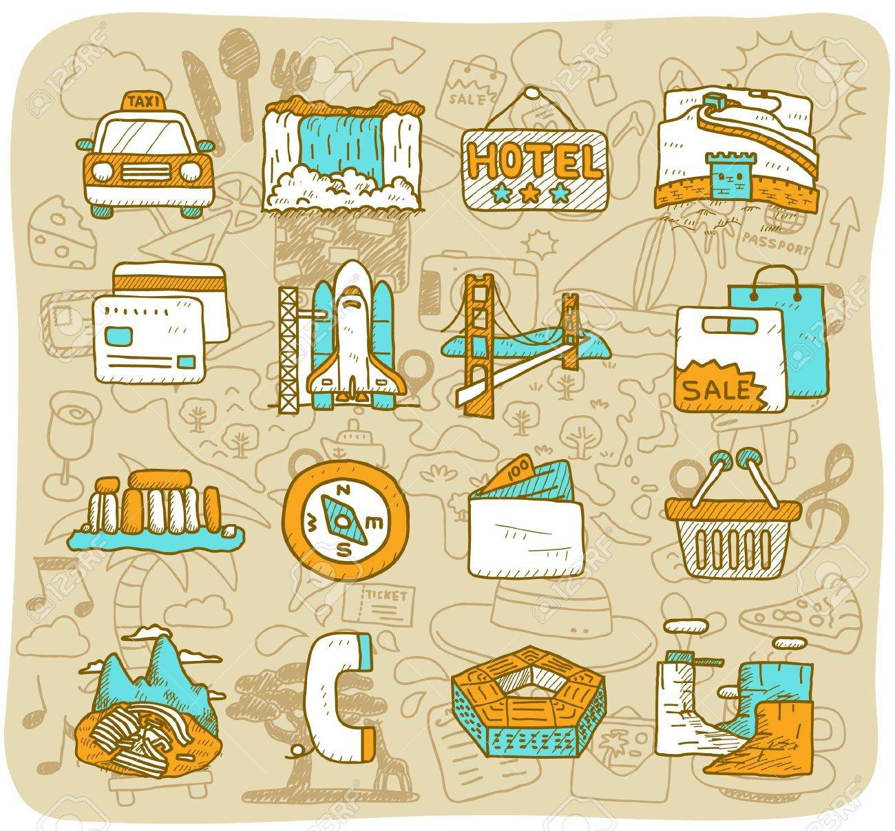 hand drawn landmark, travel,holiday,Vacations  icon set Stock Vector - 11383293