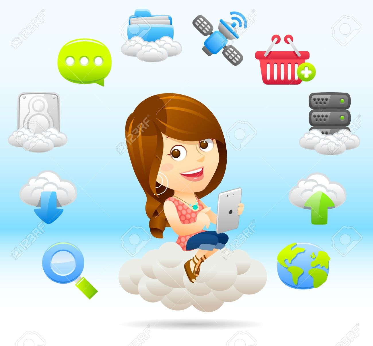 Shopping Lady with tablet PC and cloud computing, Stock Vector - 11383297