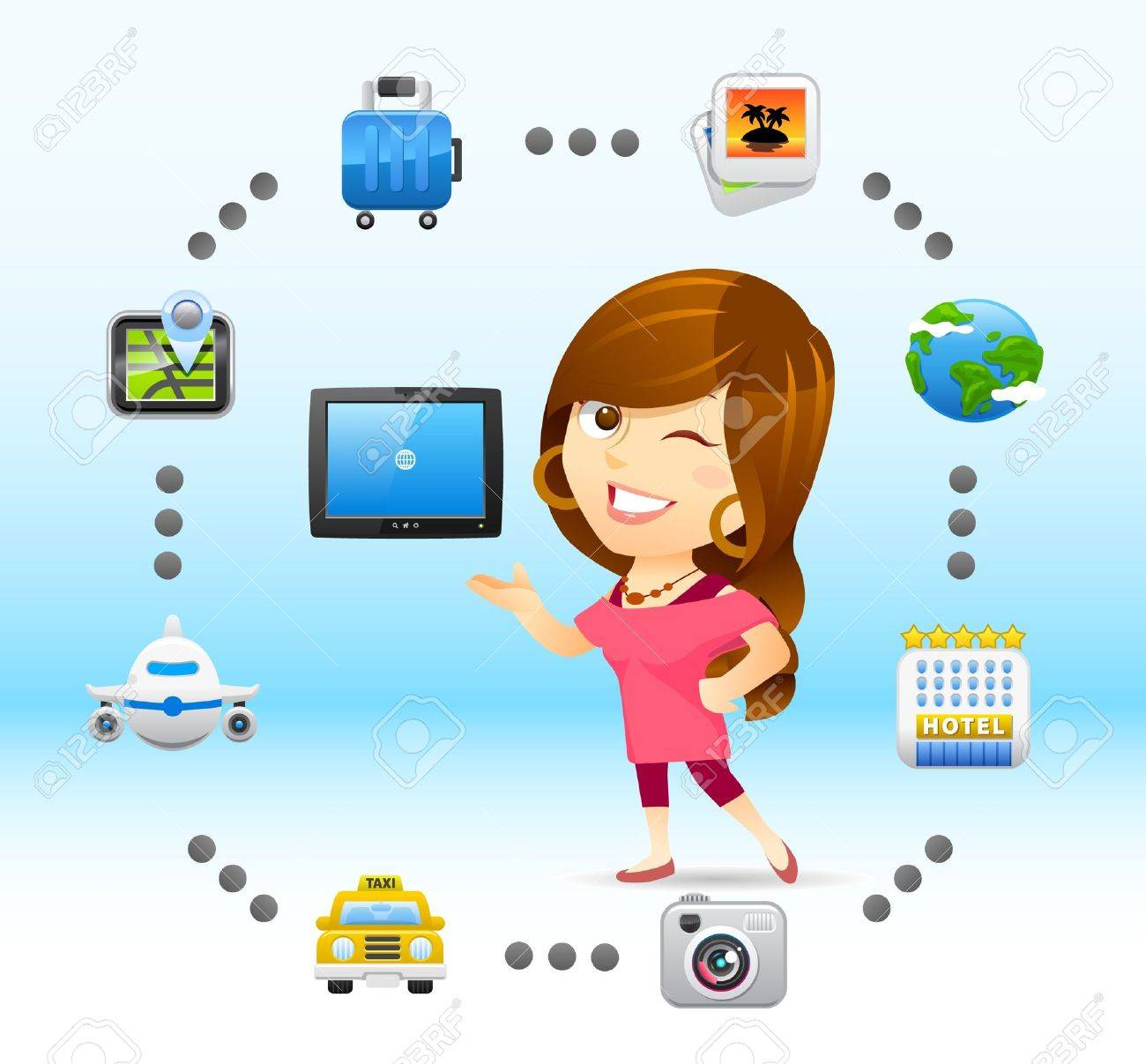 traveling lady with tablet PC Stock Vector - 11383298