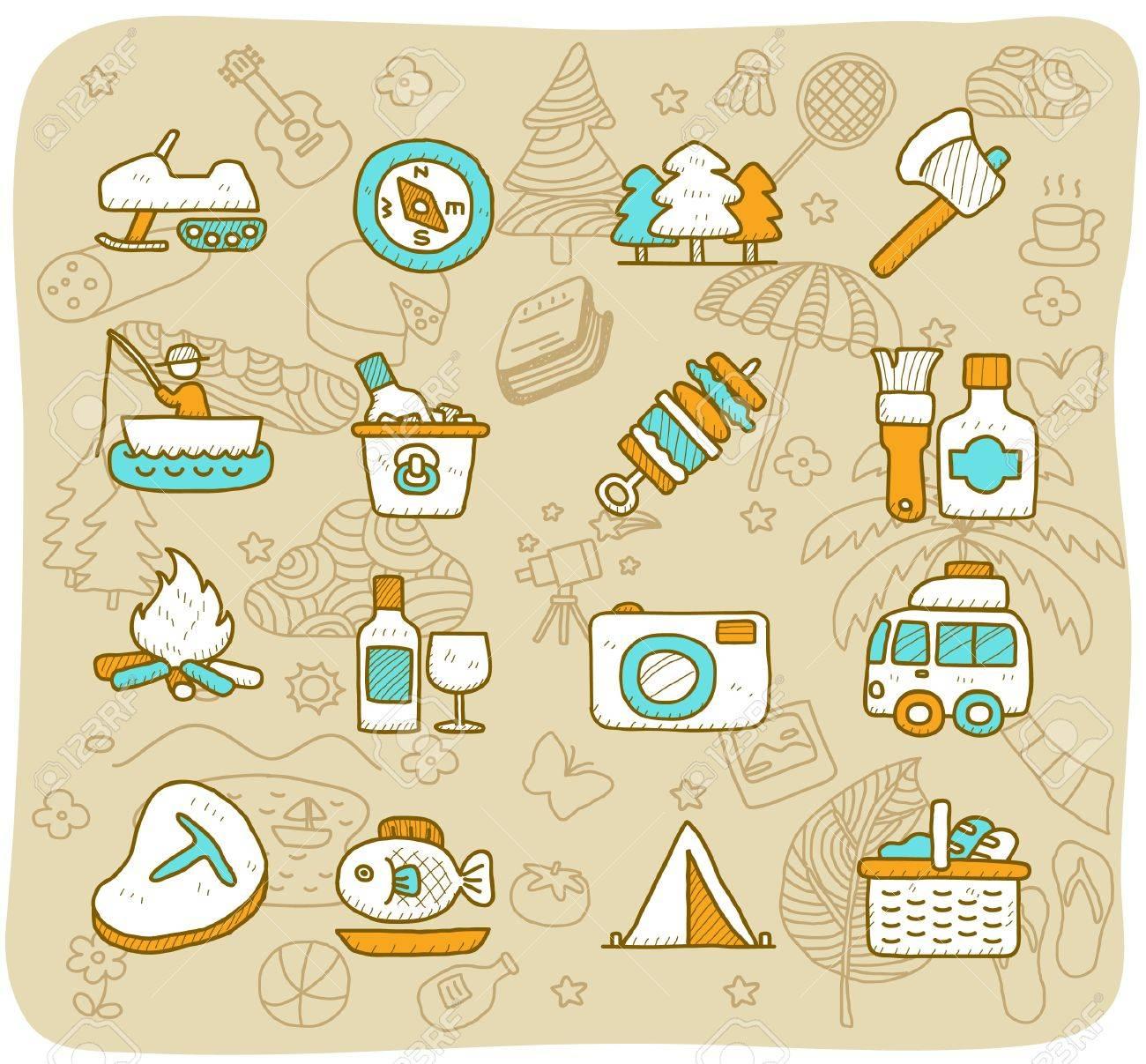 Hand drawn travel,picnic ,camping icon set Stock Vector - 11383301