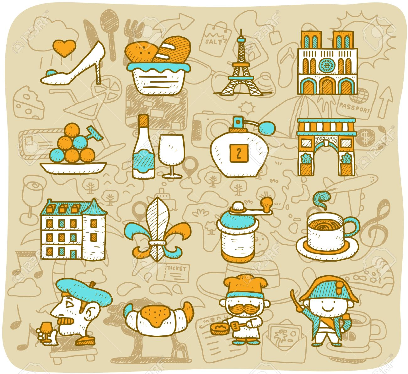 Hand drawn travel,landmarks,French,Paris icon set. vector format. Stock Vector - 11383318