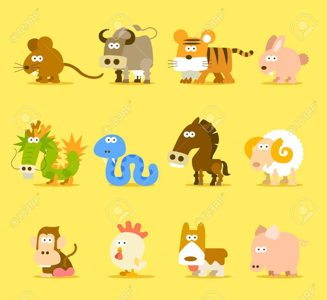 Chinese Zodiac animal ,12 animal icon set Stock Vector - 11810233