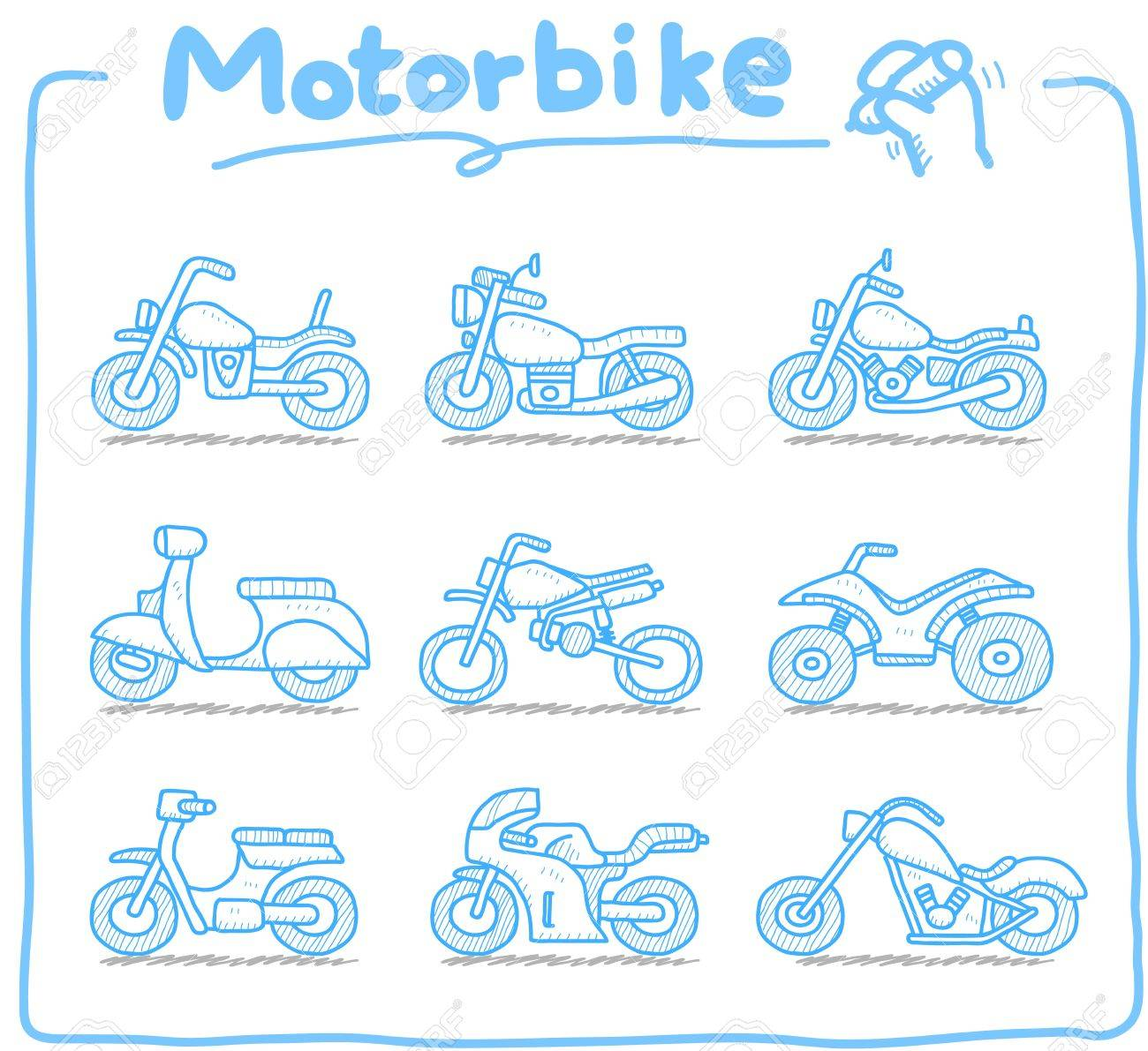 Hand drawn Motorcycle,transporration,motorbike, icon set Stock Vector - 11810245