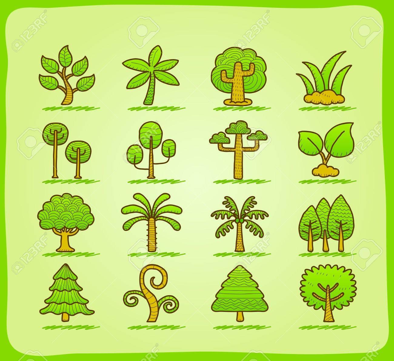 hand draw tree icon set Stock Vector - 11810260