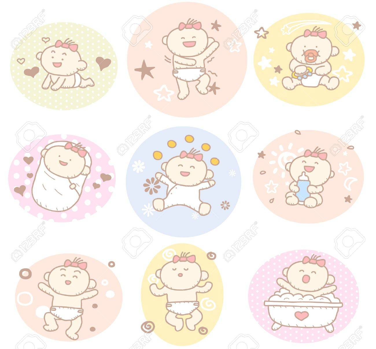 Hand drawn baby girl collection Stock Vector - 11810270