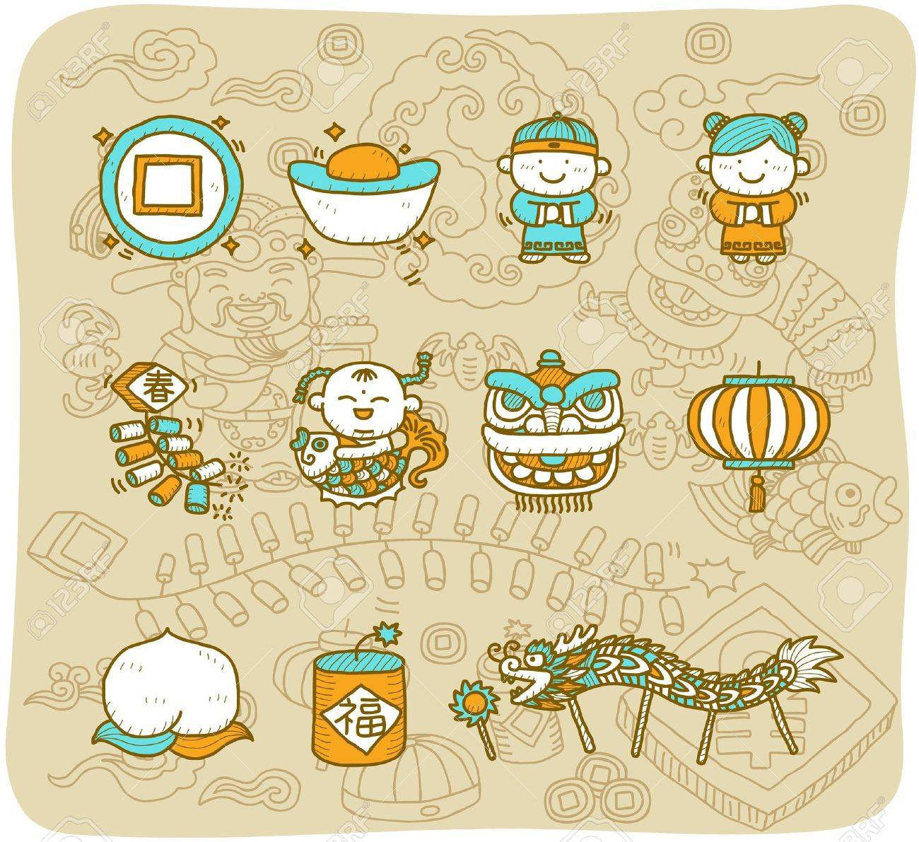 hand drawn Chinese New Year Icons Stock Vector - 11904256