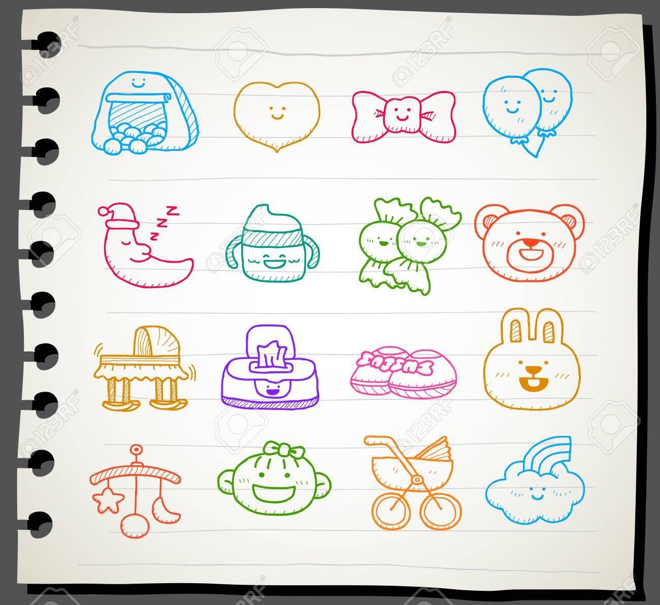 Hand drawn baby icon set Stock Vector - 12064052