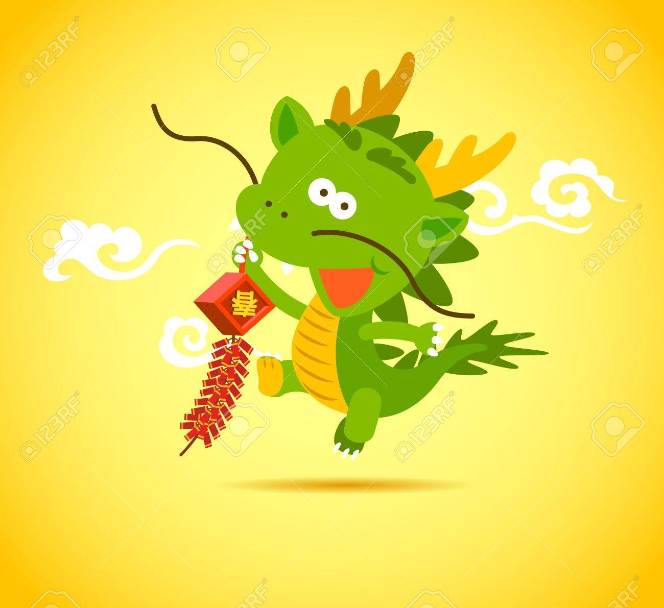 Baby Chinese Dragon holding a firecracker. Stock Vector - 12002092