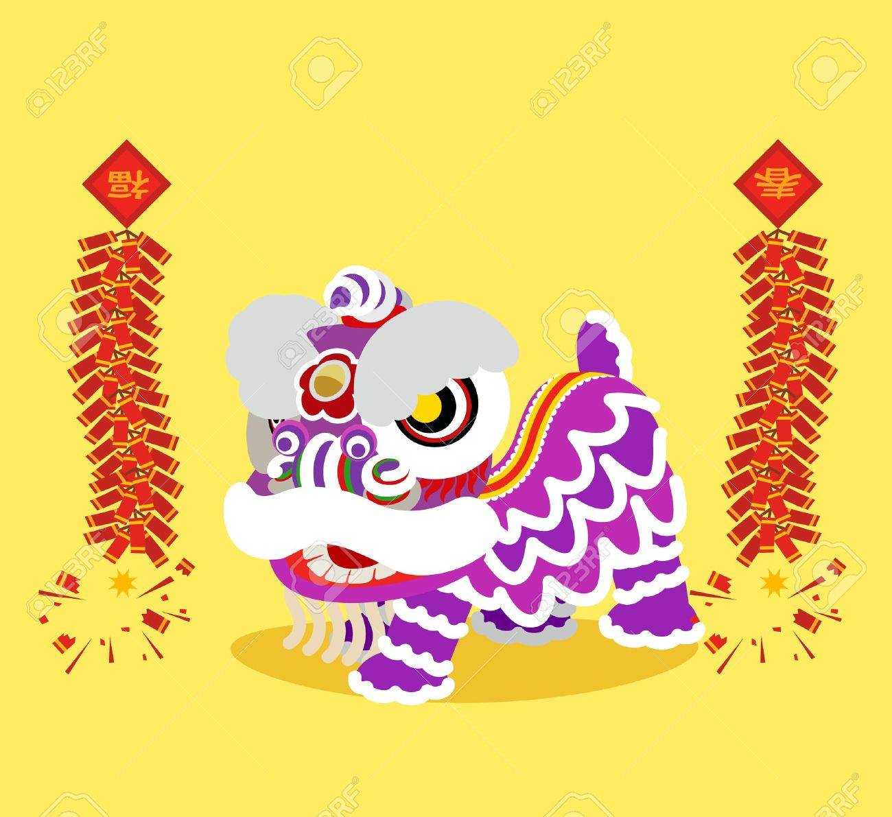 Cartoon chinese lion dancing stock vector illustration of lunar.