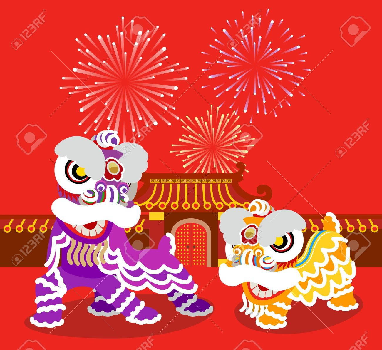 Lion Dancing And Chinese New Year Royalty Free Cliparts, Vectors ...