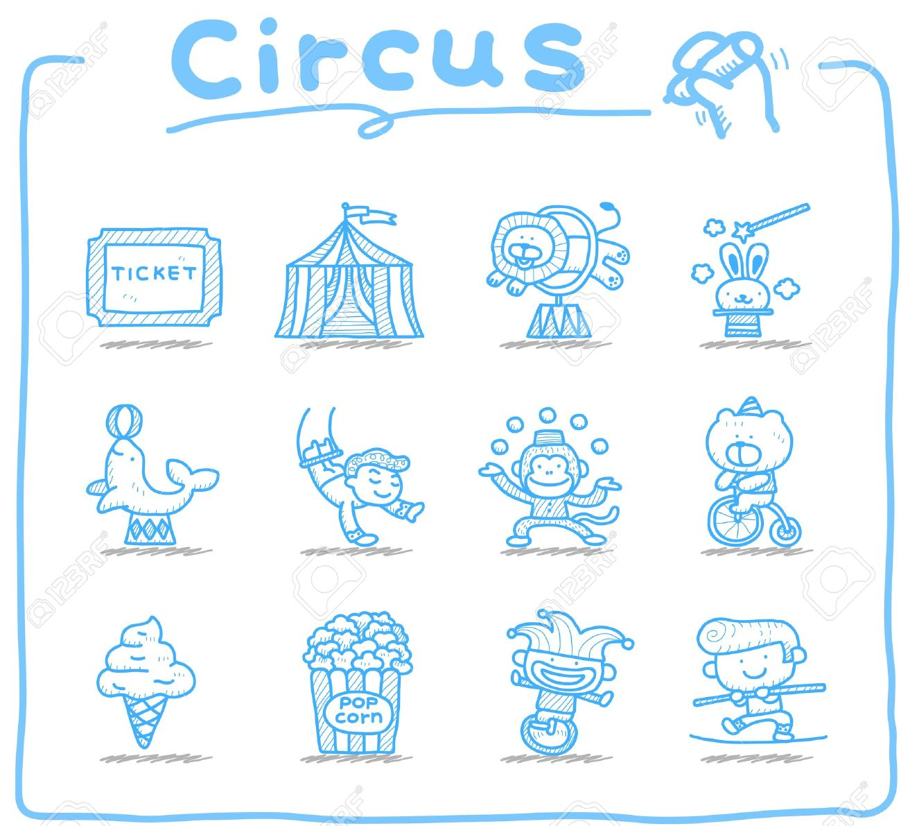 Hand drawn Circus icon set Stock Vector - 12312018