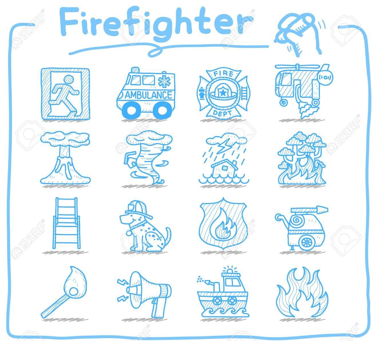 Hand drawn firefighter,fireman,emergency icon set Stock Vector - 12312021