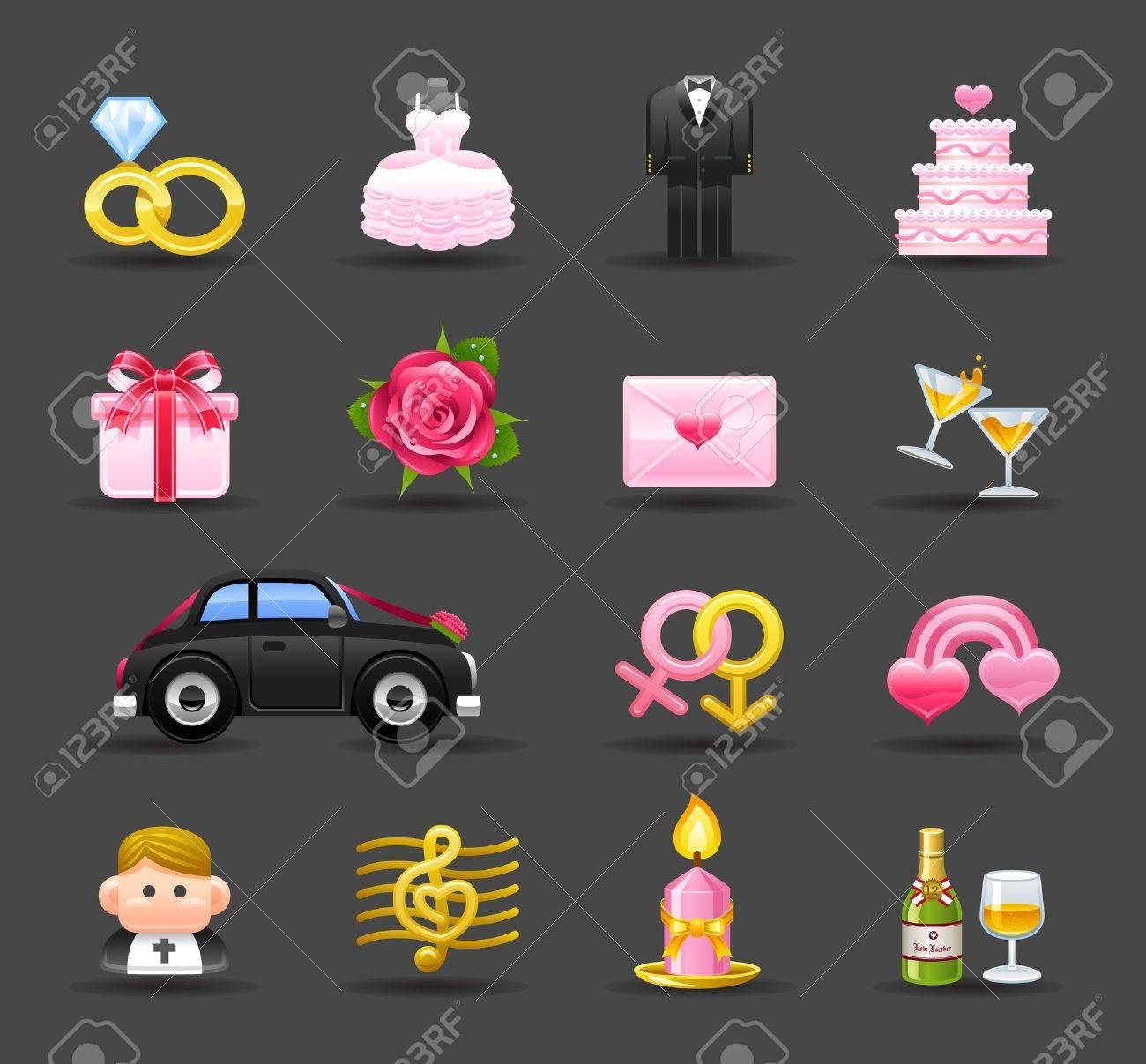 Dark Series   wedding,love,valentine icon set Stock Vector - 12312062