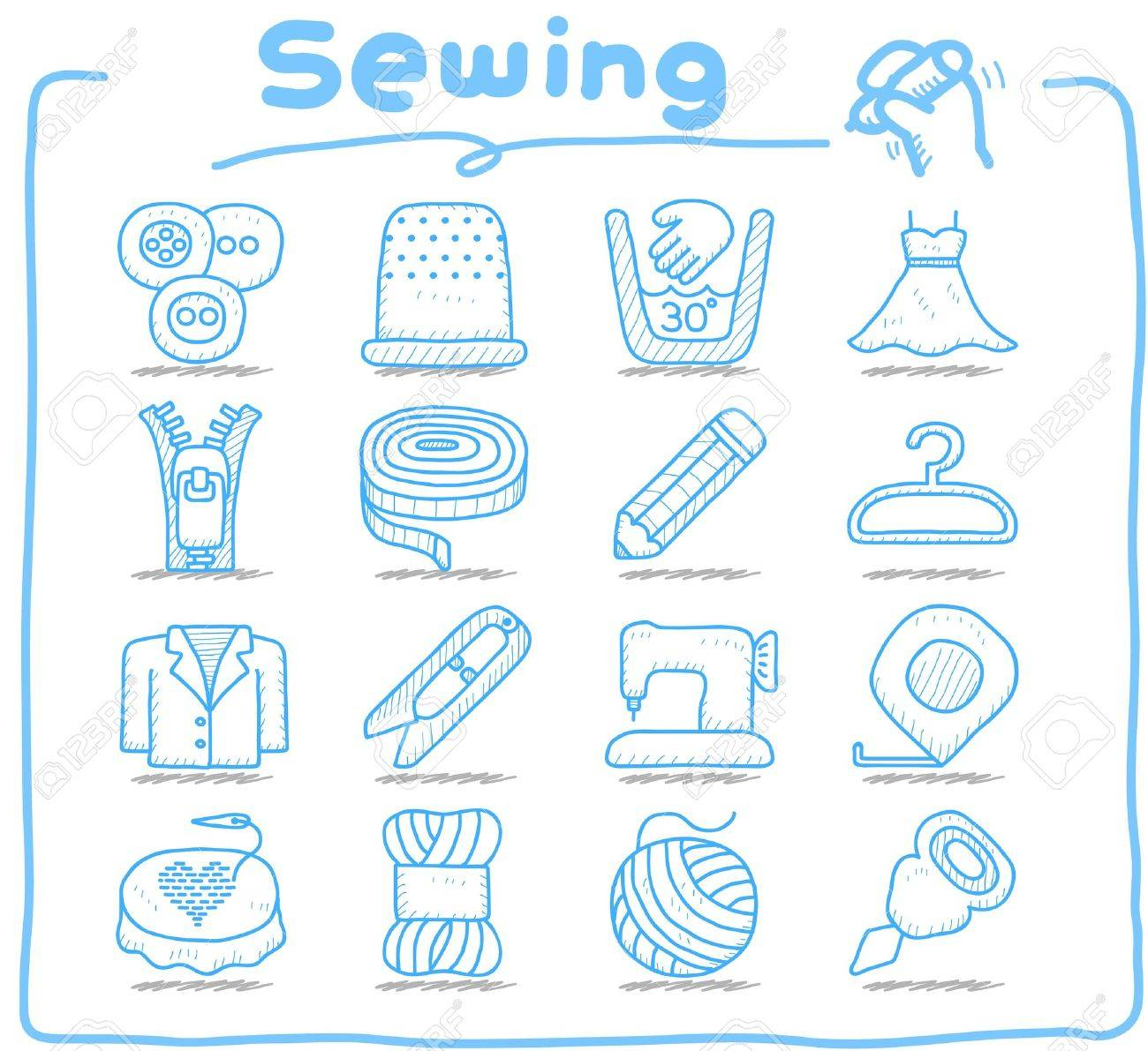 Pure series   Hand drawn Sewing icon set Stock Vector - 12633551