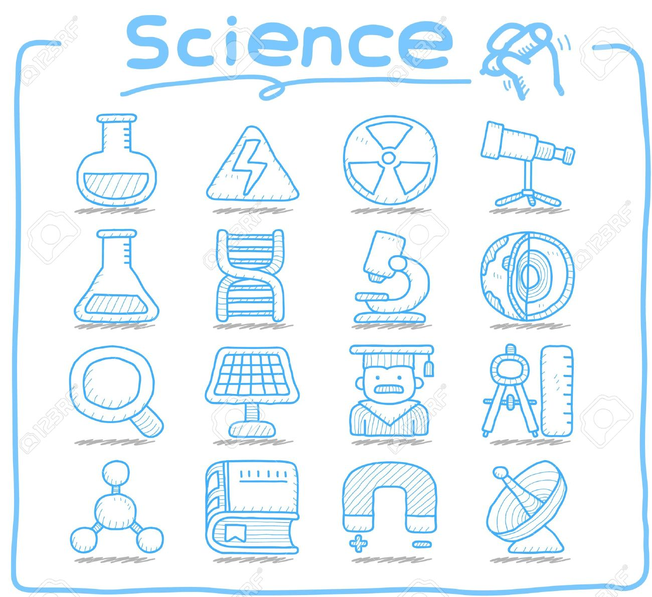 Pure Series   Hand drawn Science icon set Stock Vector - 12633557
