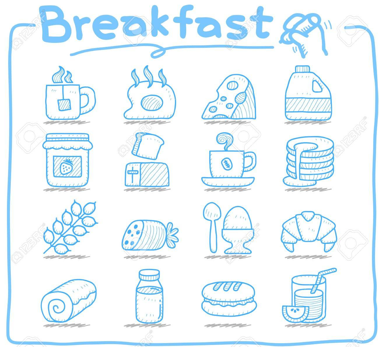Pure series  Hand drawn  Breakfast, food  icon set Stock Vector - 13106786