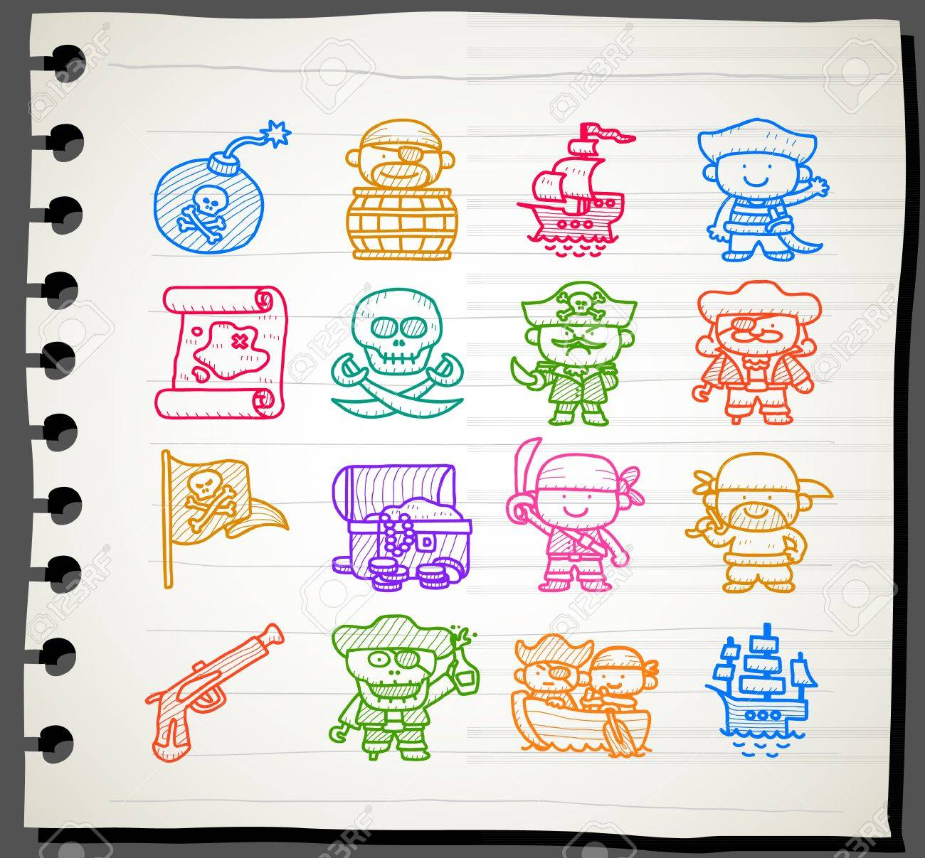 Sketchbook series,Pirate icon set Stock Vector - 13451382