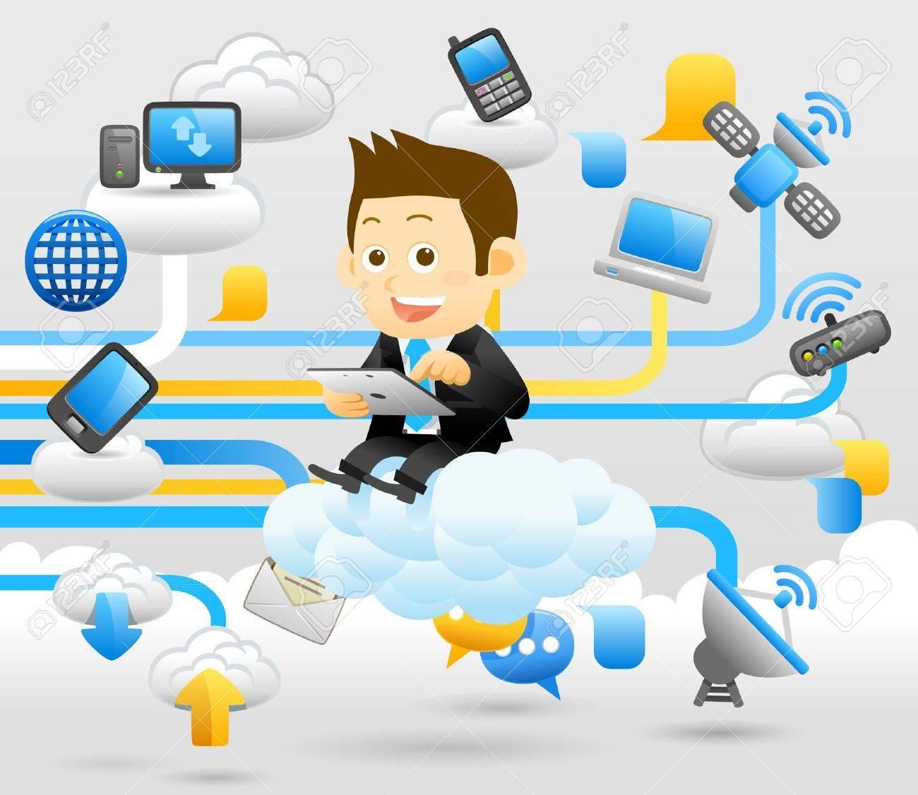 Elegant People Series - Business man ,Cloud computing concept Stock Vector - 13543870