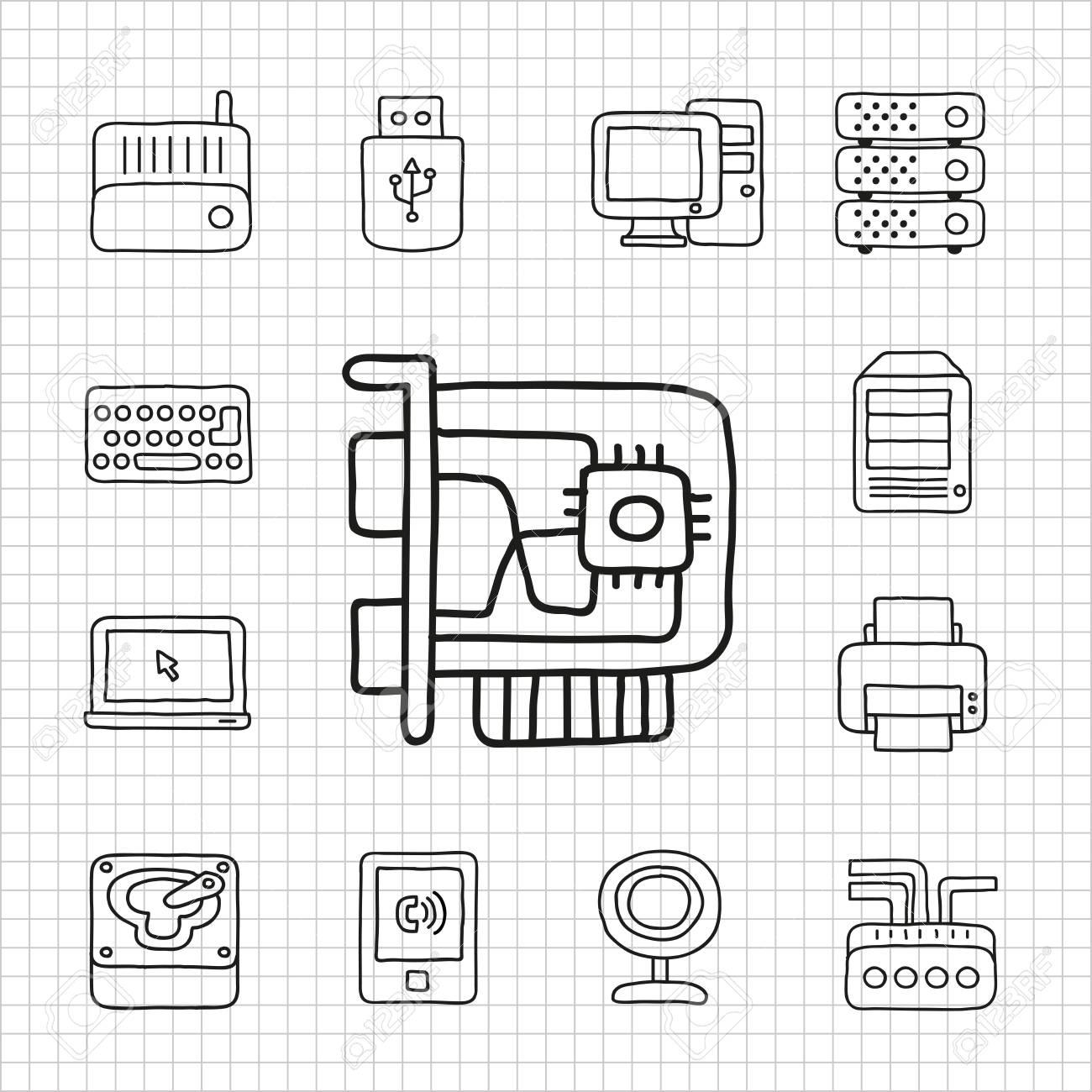 White Series   Hard device icon set Stock Vector - 14199611