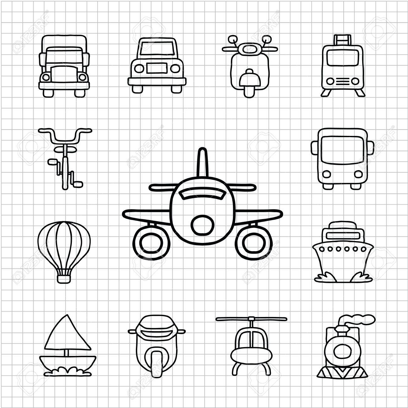 White Series   Hand drawnCar,Transportation icon set Stock Vector - 14243171