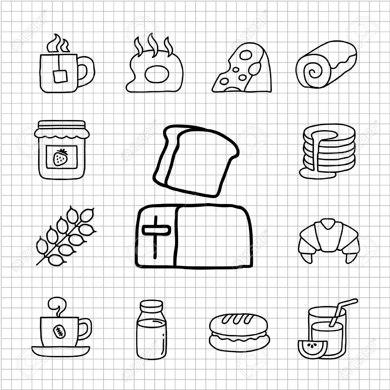 White series - Breakfast icon set Stock Vector - 14266181