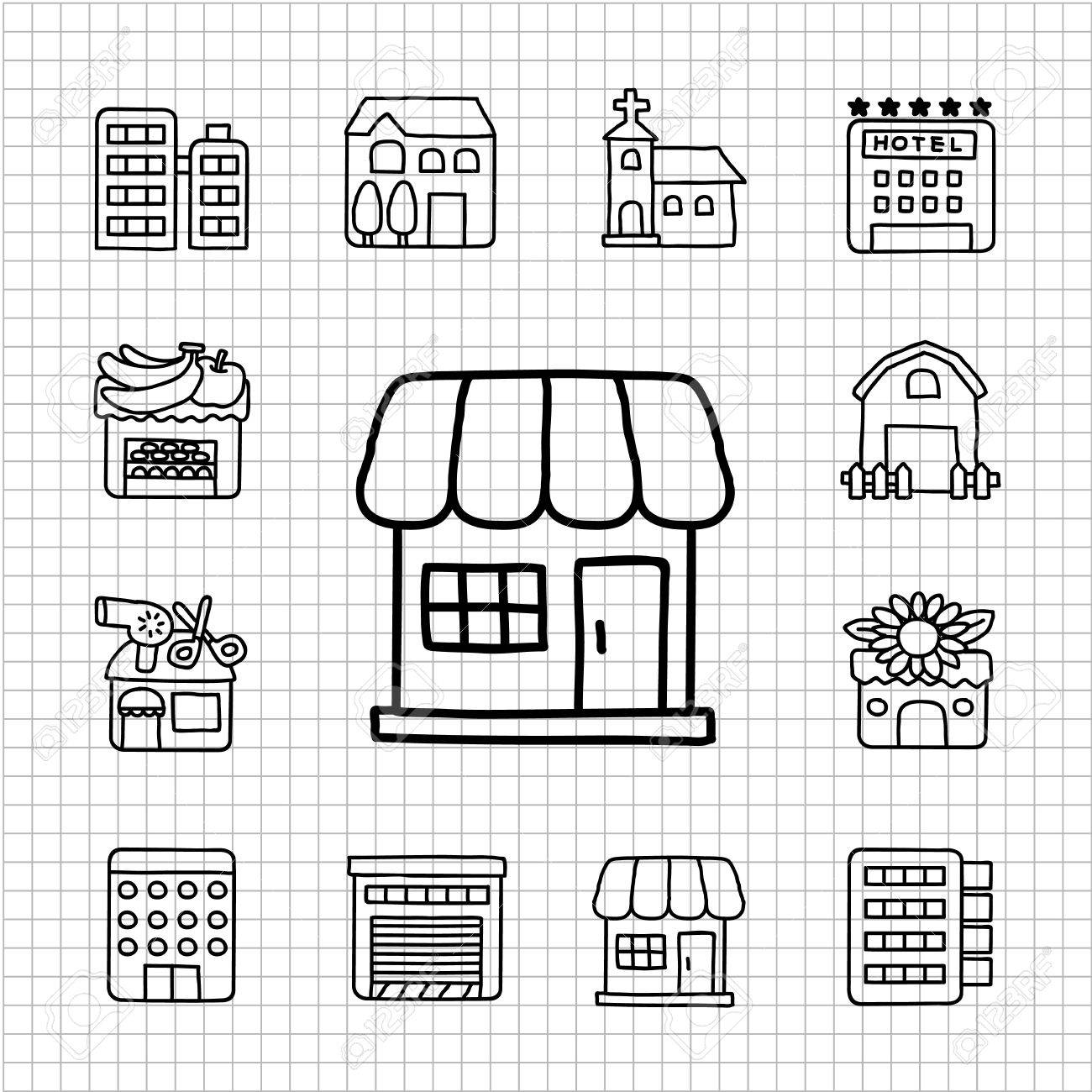White Series - Store,Building  icon set Stock Vector - 14266201
