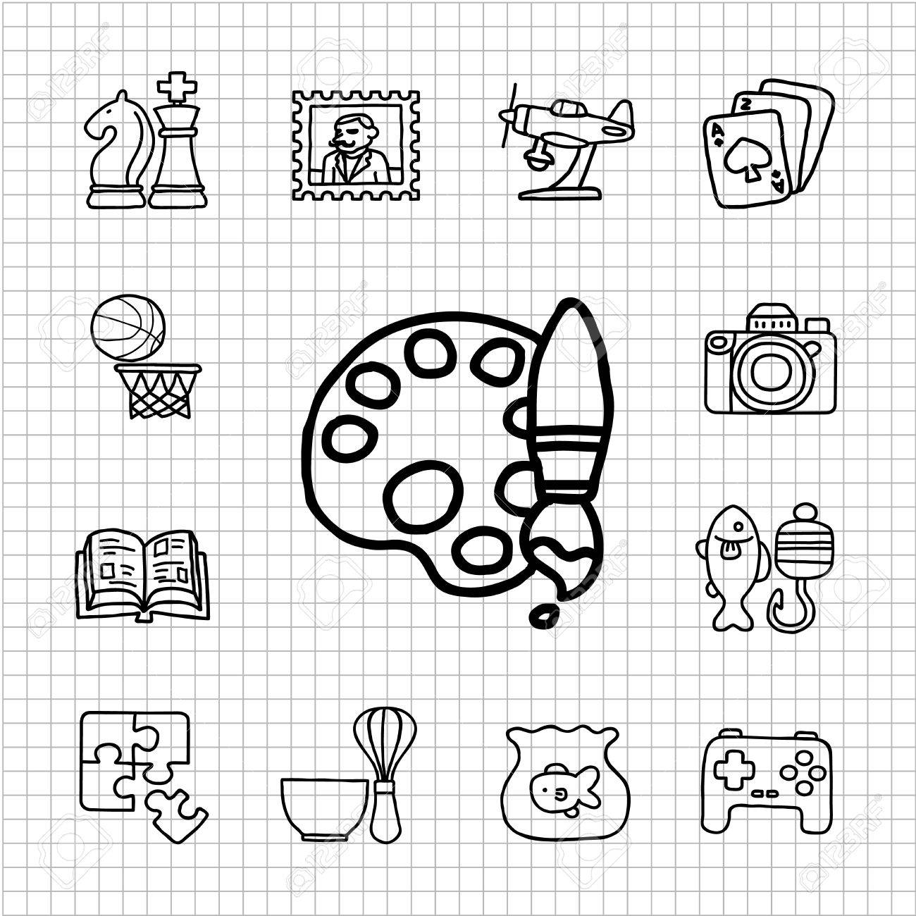 Vector Illustration - Hobby icons on white background. EPS Clipart  gg67246487 - GoGraph
