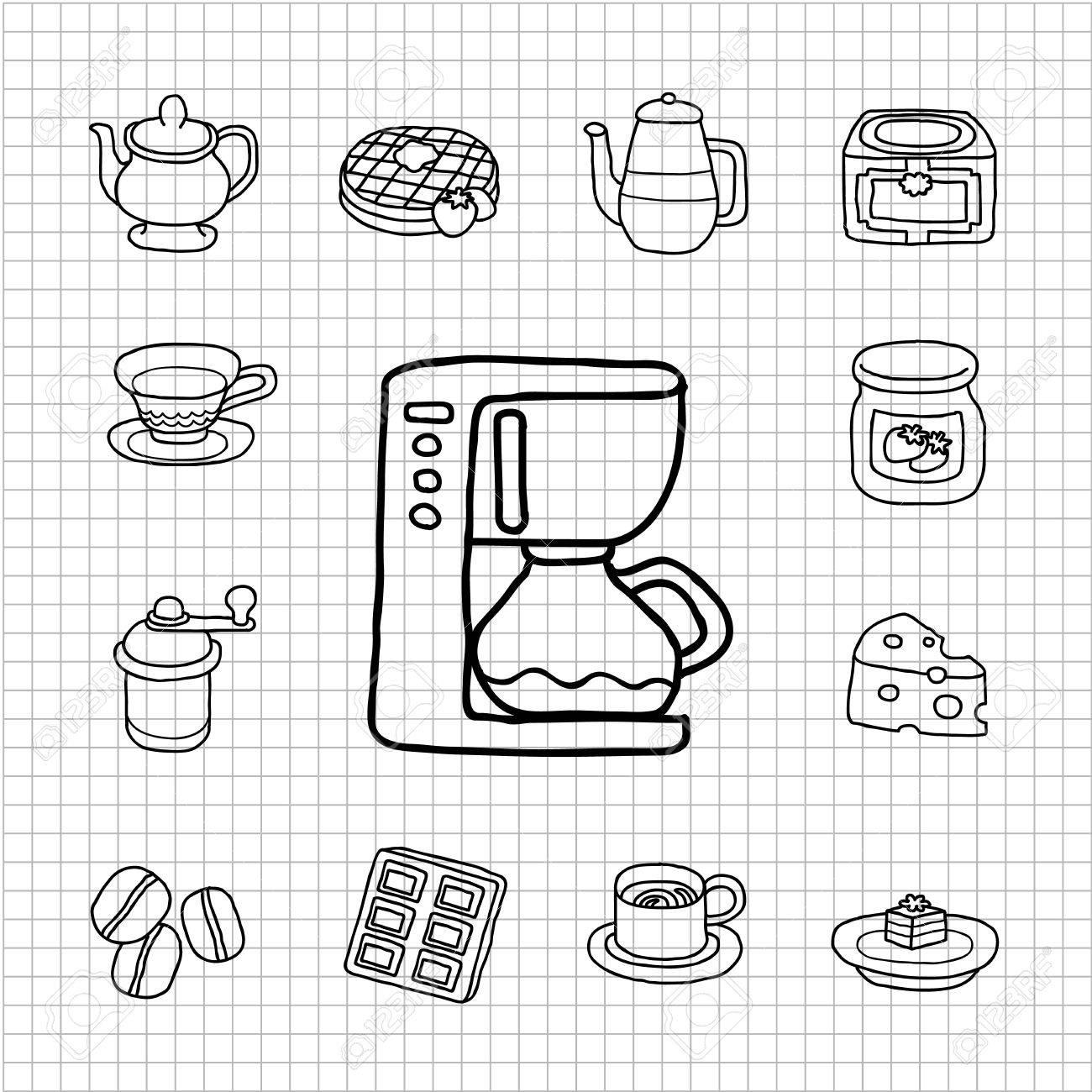 White Series Kaffee Kuchen Icon Set Lizenzfrei Nutzbare