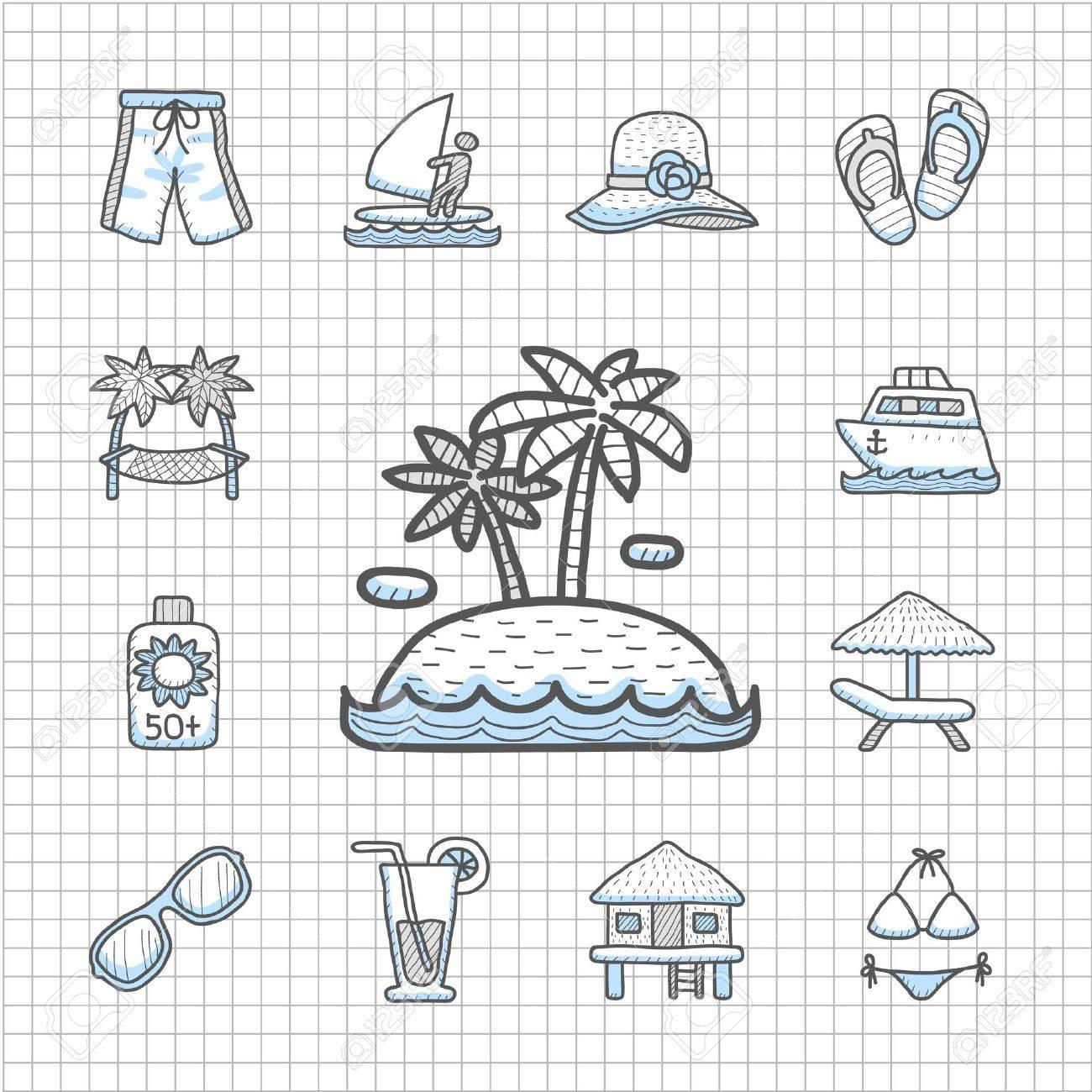 Spotless series   Hand drawn Beach, travel,vacation, trip icon set Stock Vector - 14400384