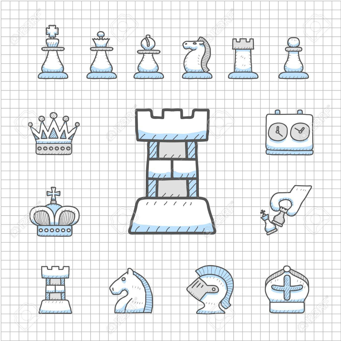Spotless Series - Hand drawn Chess icon set Stock Vector - 14483789