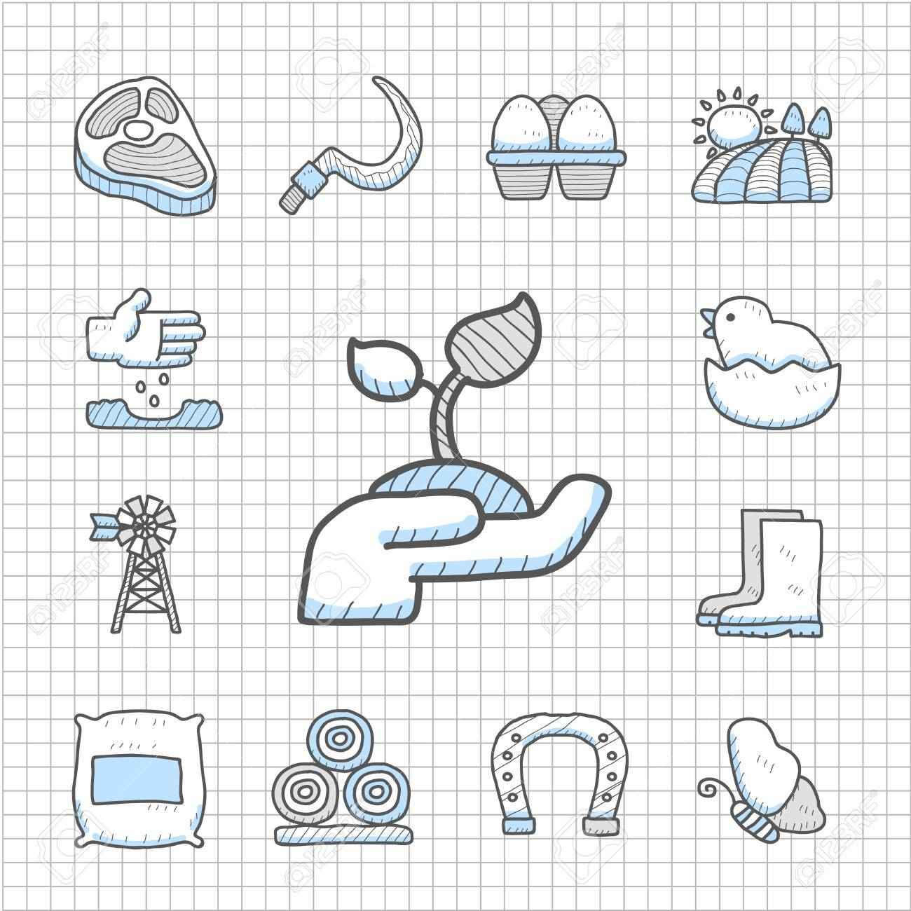 Spotless Series -Hand drawn farm icon set Stock Vector - 14483771