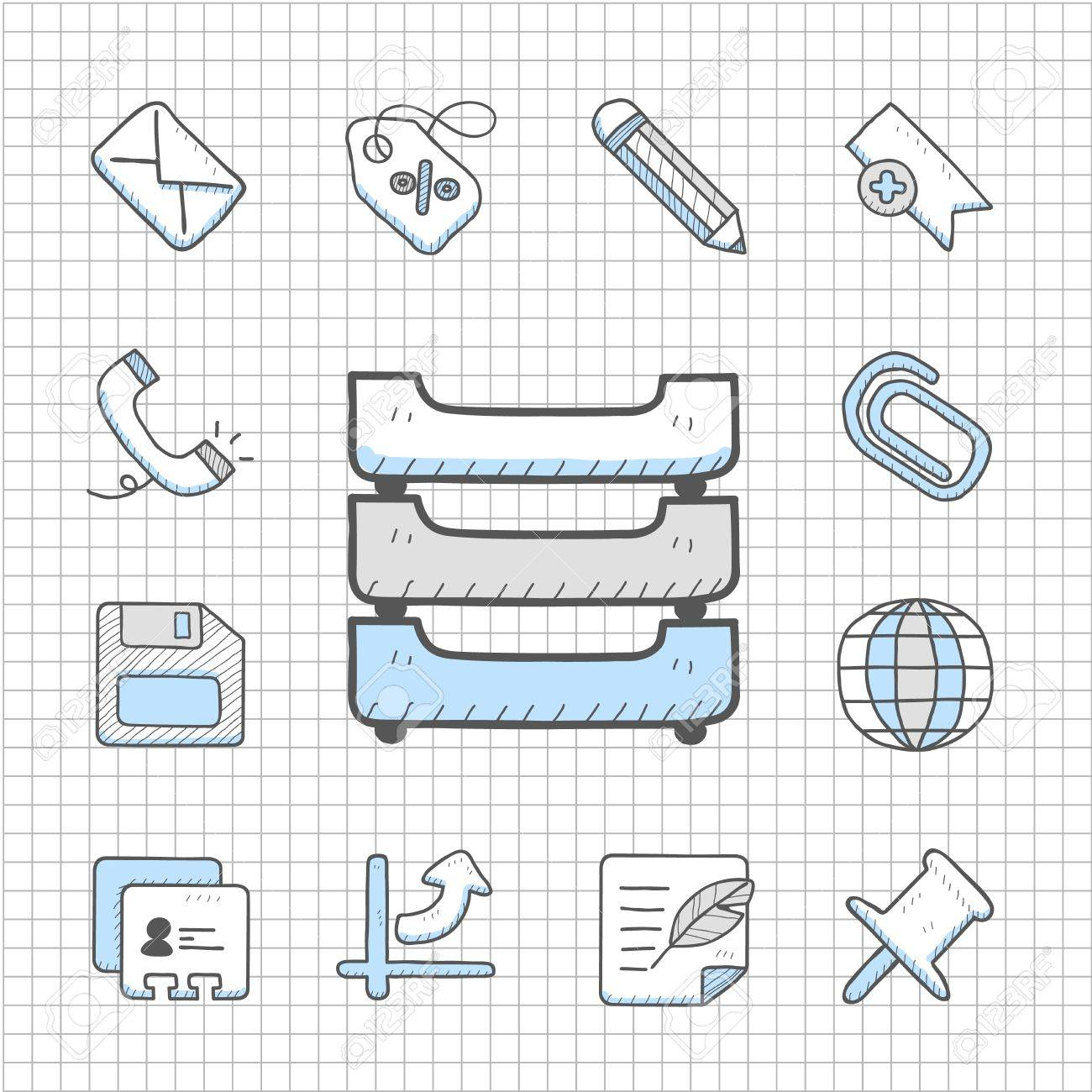 Spotless Series   Hand drawn business icon set Stock Vector - 14764017