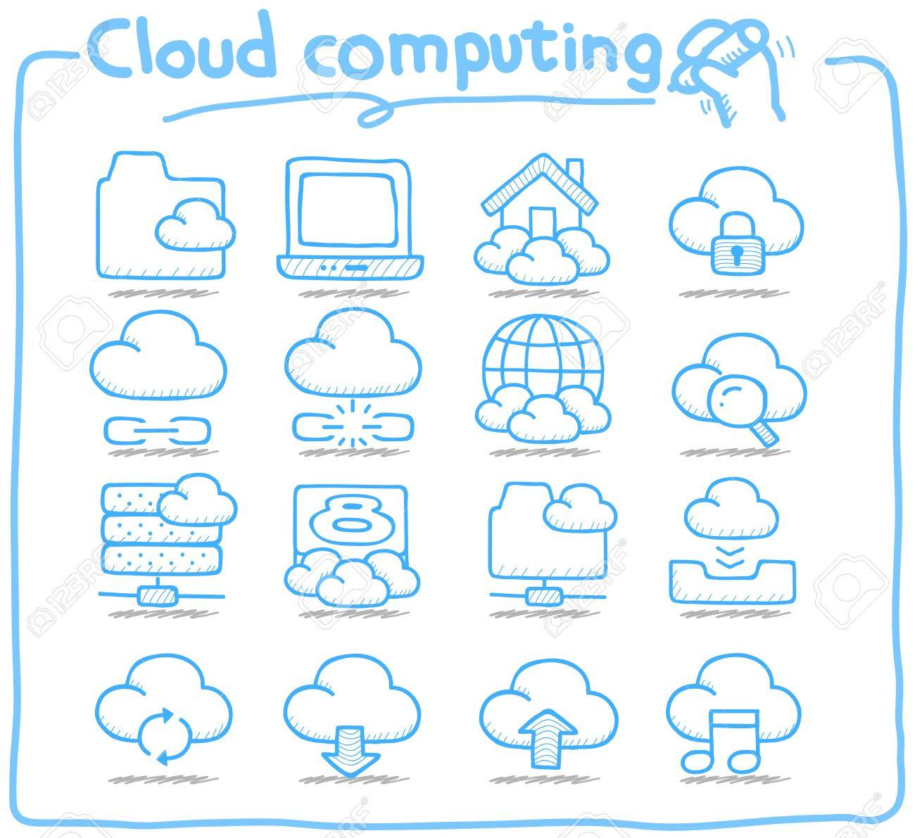 Pure Series   Hand drawn cloud computing  icon set Stock Vector - 14884146