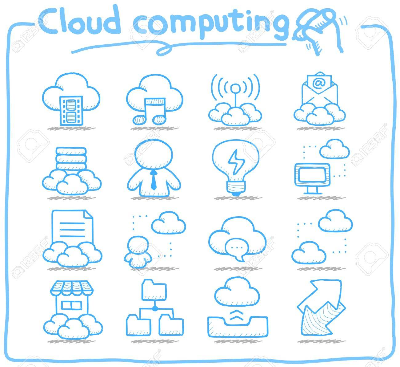 Pure Series   Hand drawn cloud computing  icon set Stock Vector - 14884149