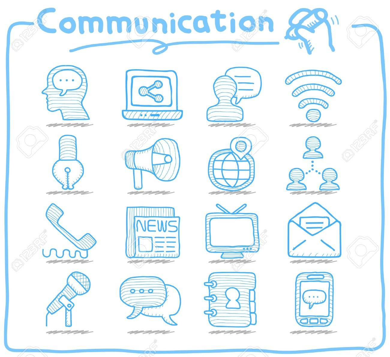 Pure Series   Hand drawn Communication , Network icon set Stock Vector - 15214203