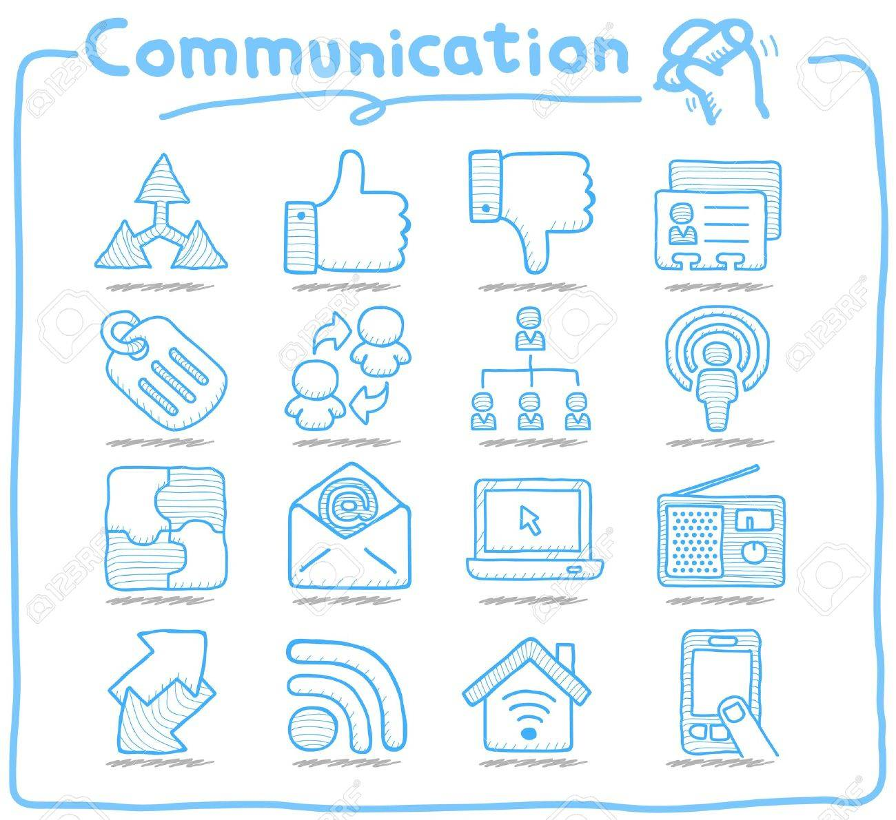 Pure Series   Hand drawn Communication , Network icon set Stock Vector - 15214204