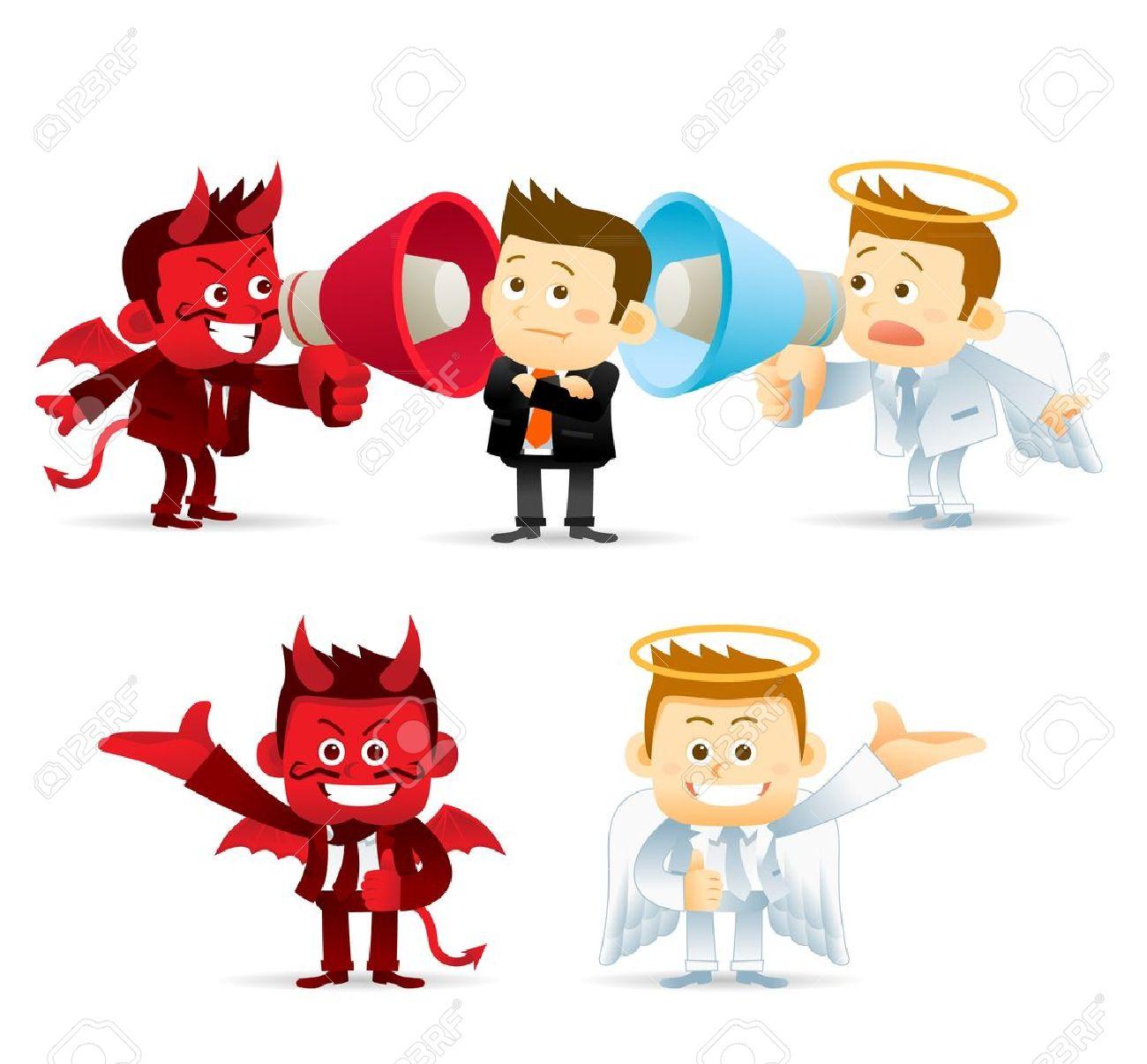 ビジネス天使悪魔のイラスト素材ベクタ Image 17691127