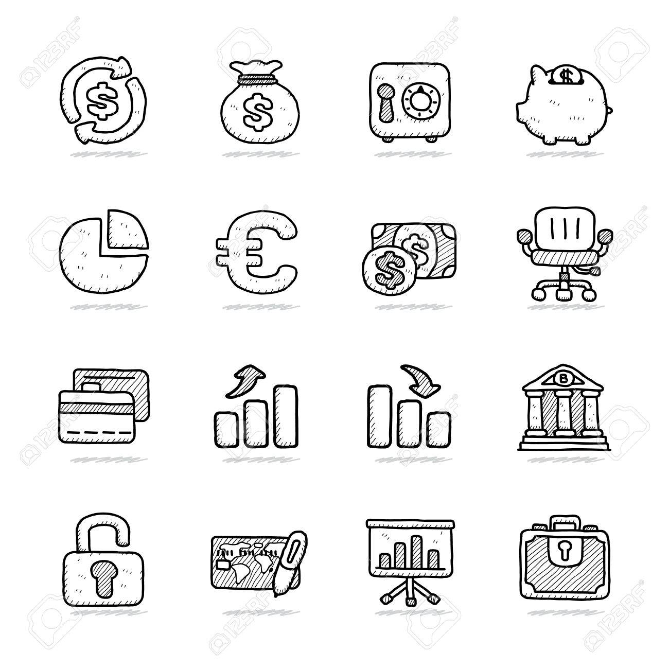 Hand drawn Bank   Finance icon set Stock Vector - 18779659