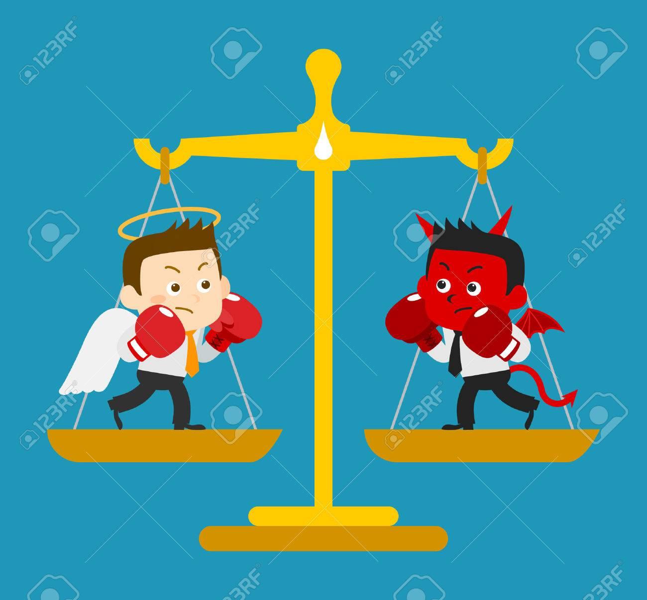 ビジネス天使 悪魔 ベクトル イラストのイラスト素材ベクタ