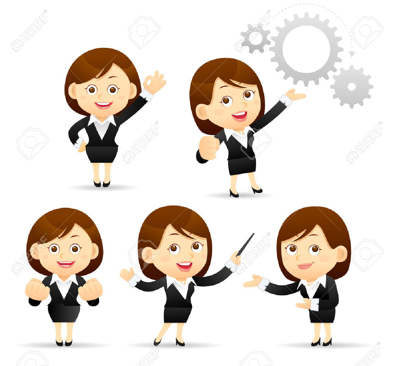 vector illustration of cartoon businesswoman set royalty free