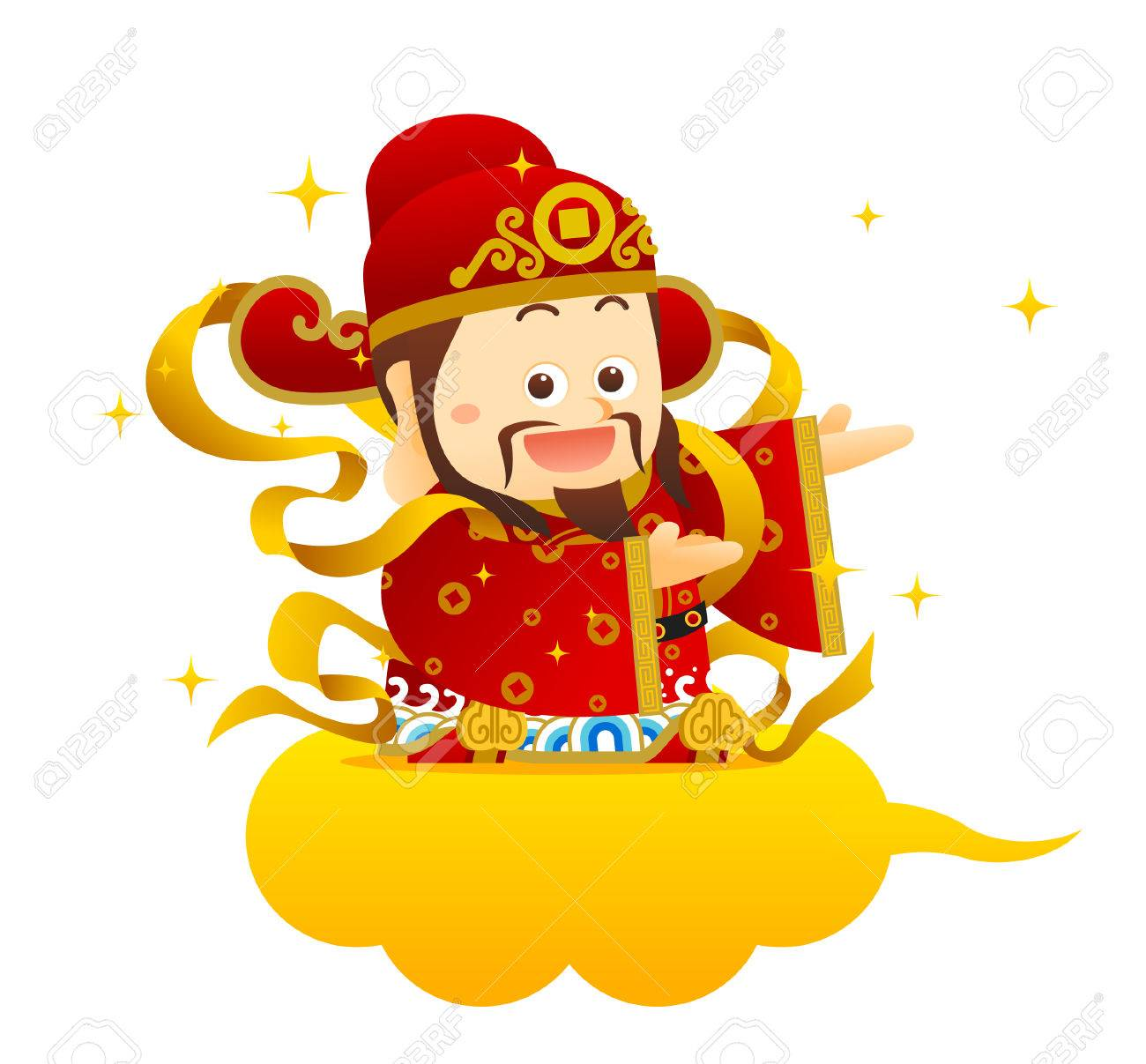 """Vector illustration Chinese Character """"God of Wealth"""" Chinese wording on gold dollar meanings:. Wish you wealth and success! - 50512882"""