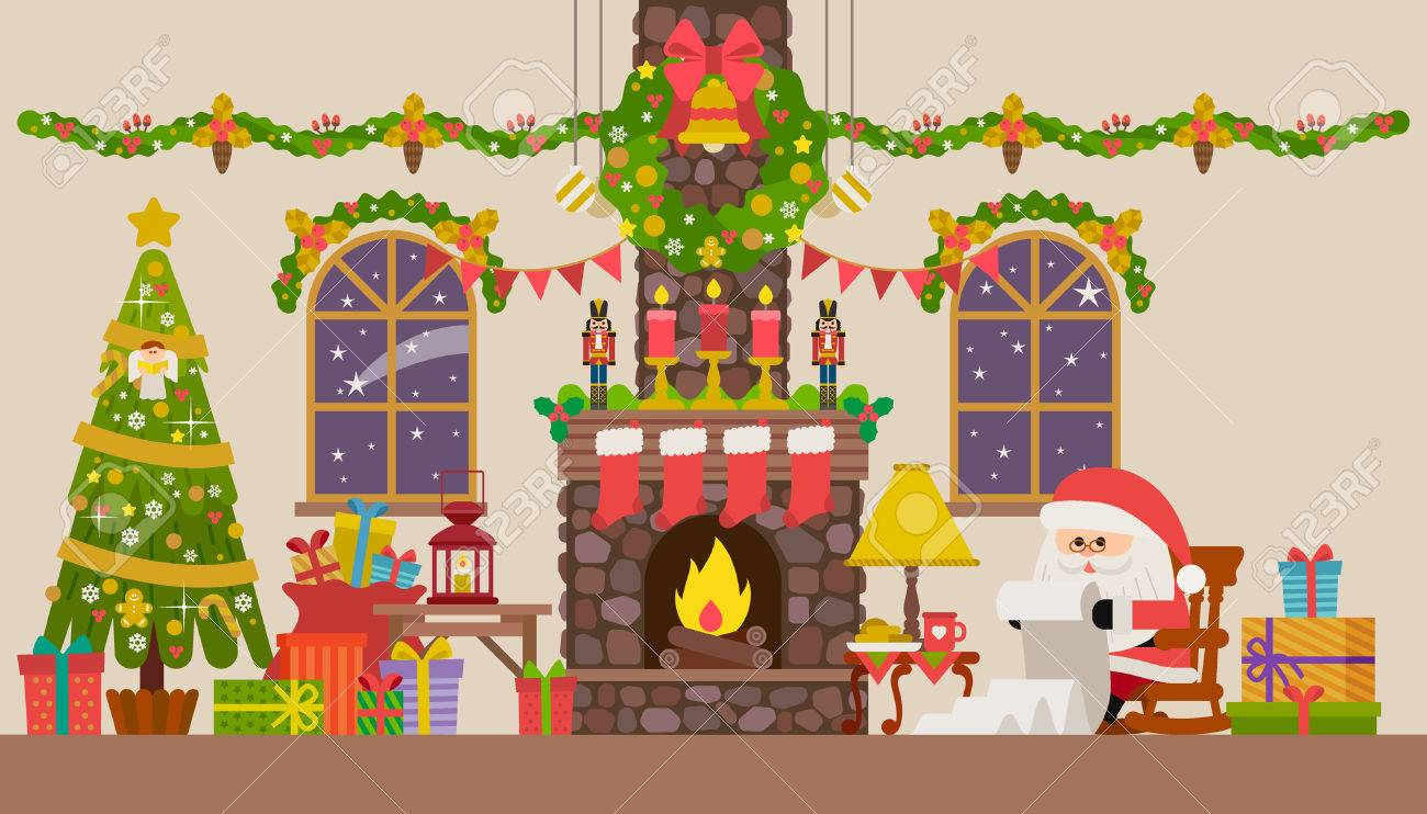 Vector Illustration Of Christmas Living Room With Rocking Chair