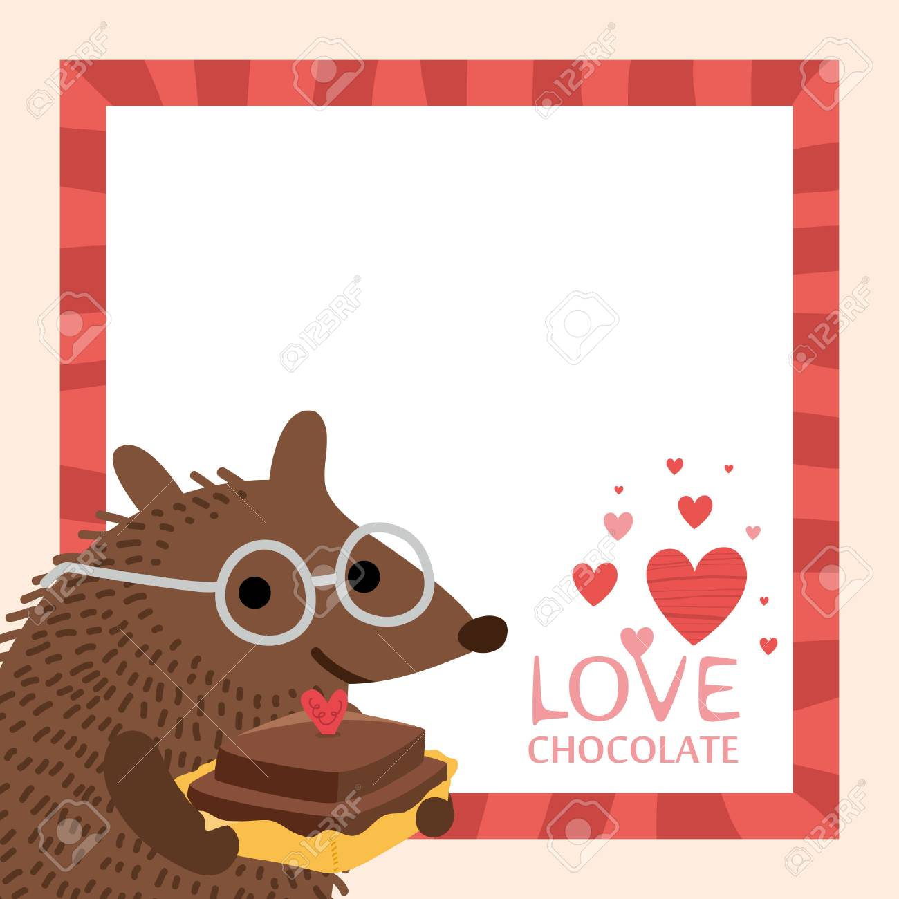 Cute Hedgehog Valentines Day Card Blank Space Stock Vector