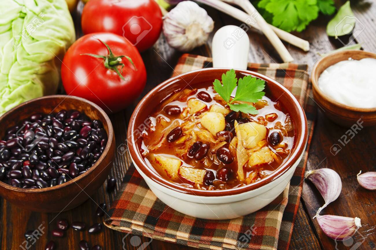 Cabbage soup with red beans.Traditional russian cuisine - 142857580