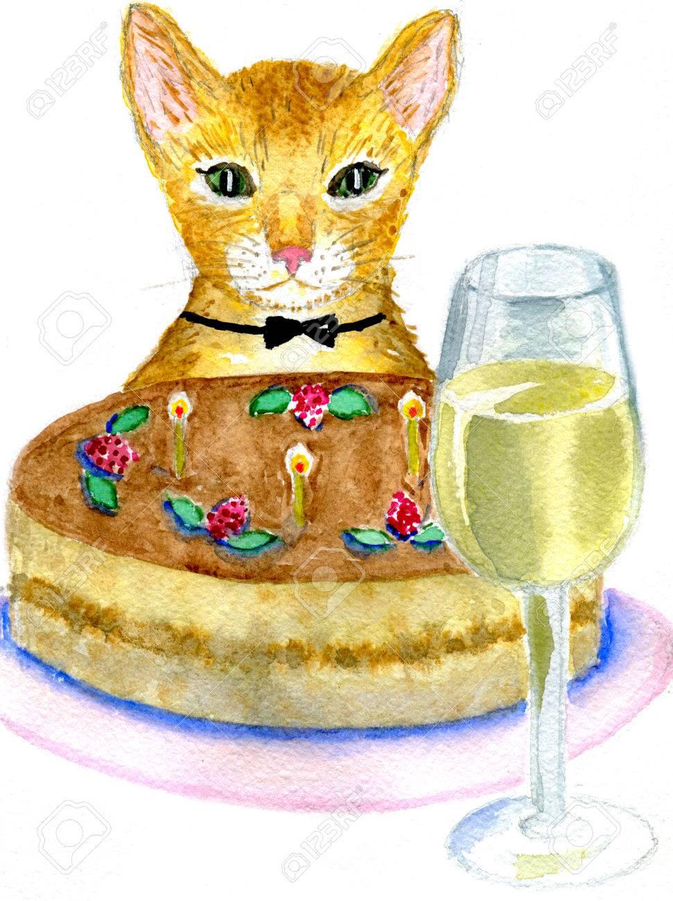 Katzen Geburtstag Katze Mit Kuchen Und Ein Glas Wein Auf Einem